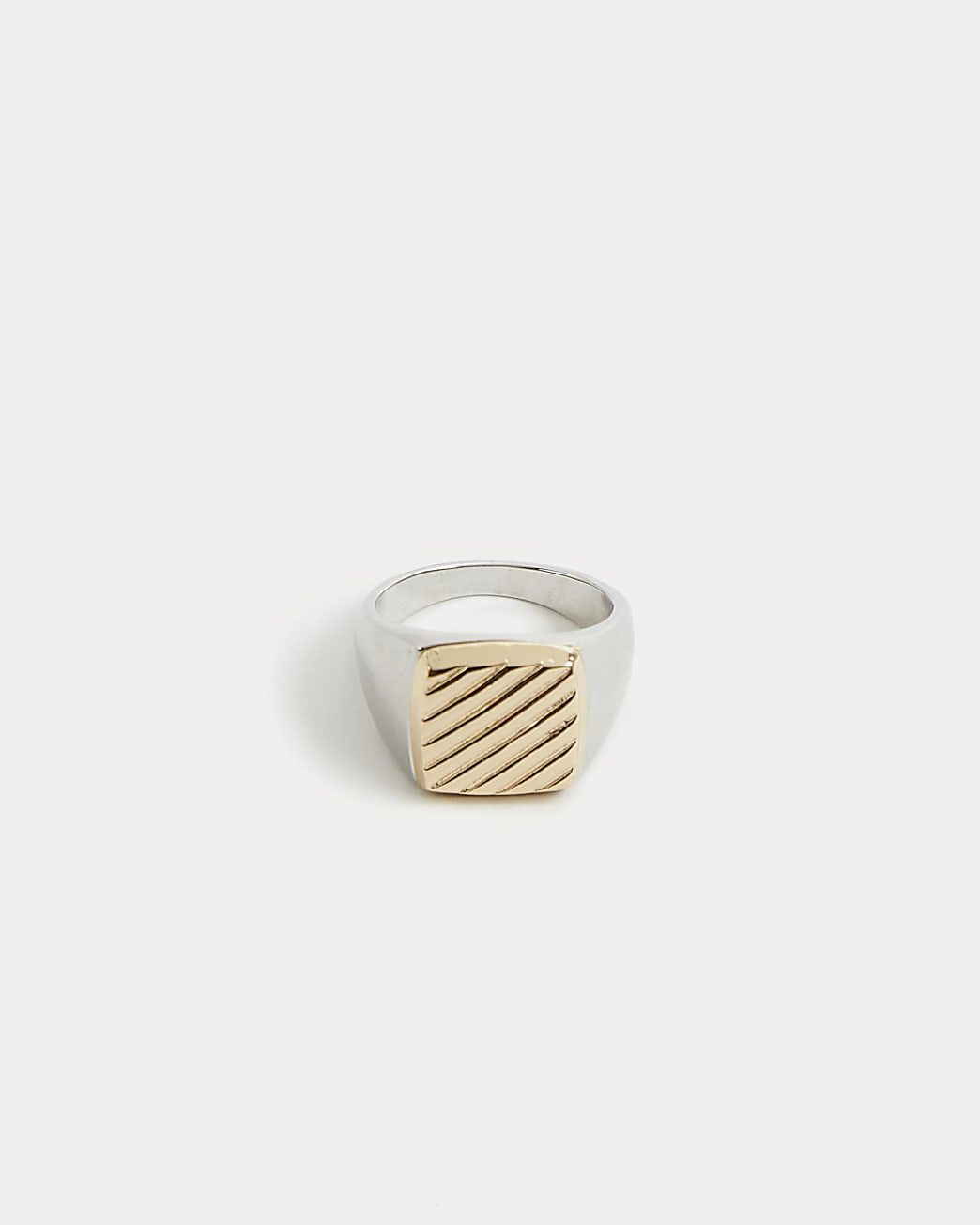 Silver colour square engraved signet ring