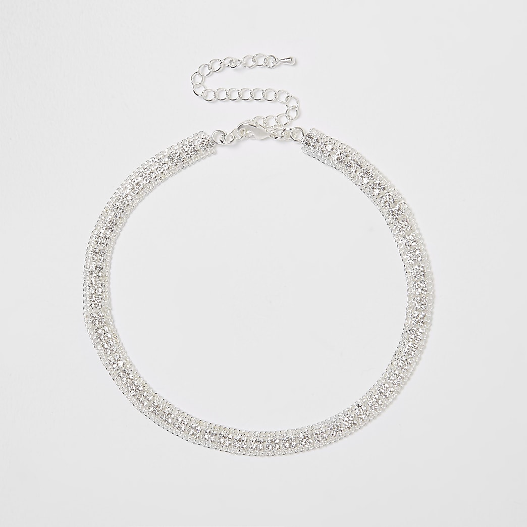 Silver colour square pave choker