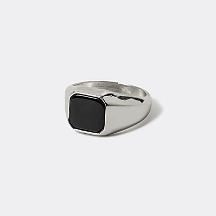 Silver colour square signet ring