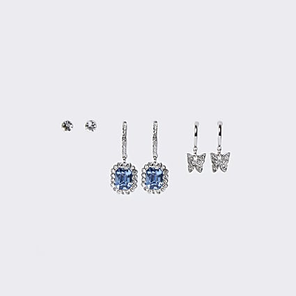 Silver colour stone butterfly earrings 3 pack