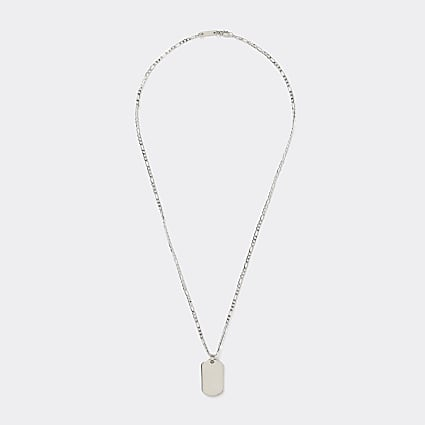 Silver colour tag pendant necklace