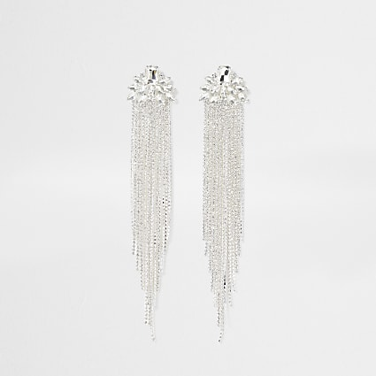 Silver colour tassel drop earrings