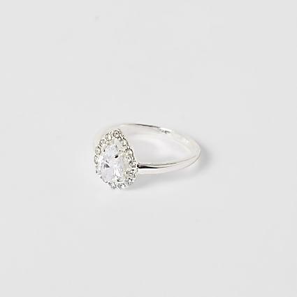 Silver colour teardrop diamante ring