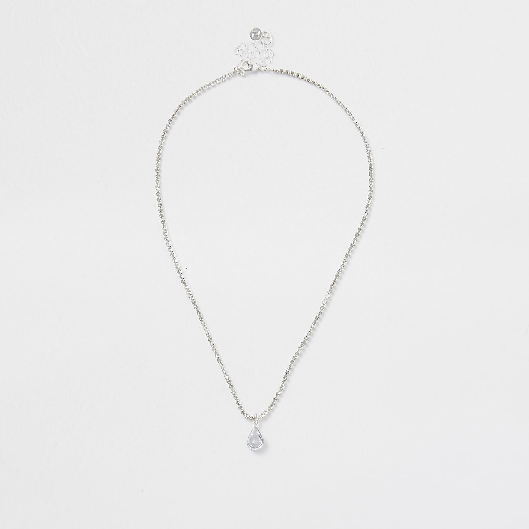 Silver colour teardrop necklace