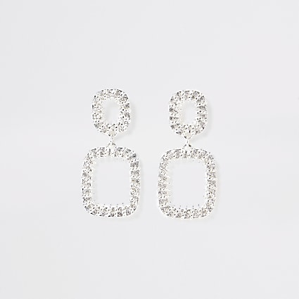 Silver colour textured drop earrings
