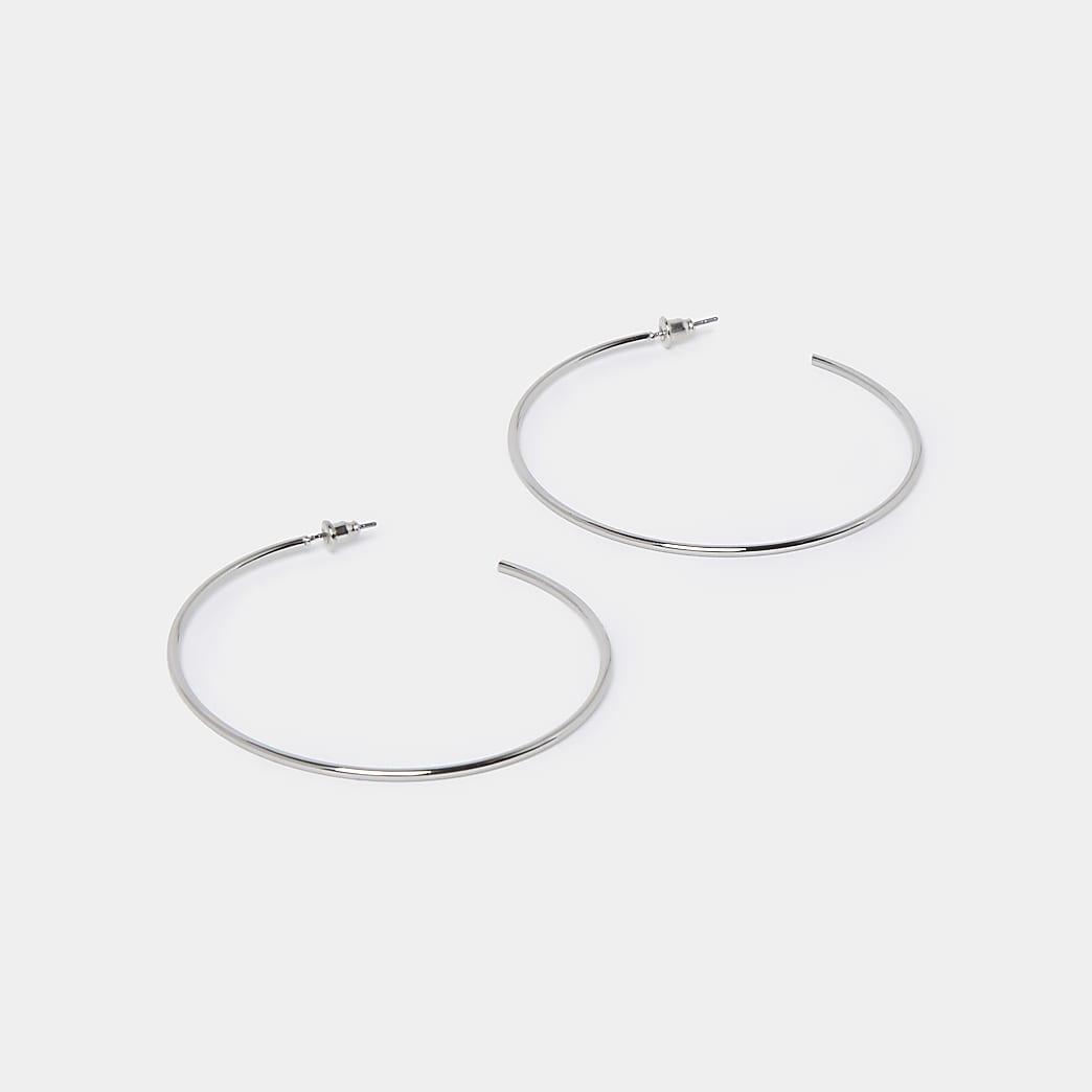 Silver colour thin hoop earrings