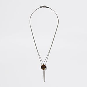 Silver colour tiger eye pendant necklace