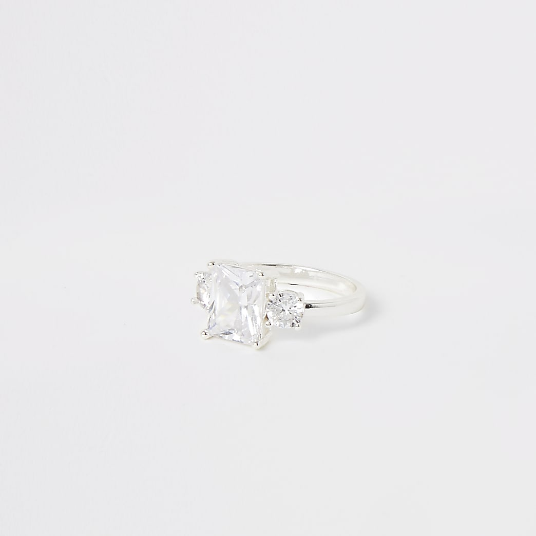 Silver colour triple diamante ring