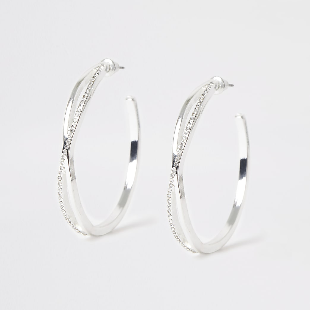 Silver colour twist diamante hoop earrings