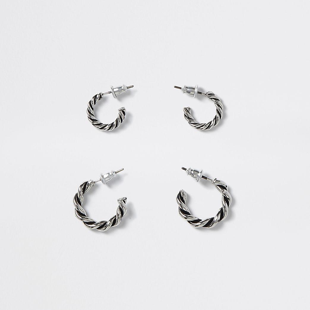 Silver colour twist hoop earrings 2 pack