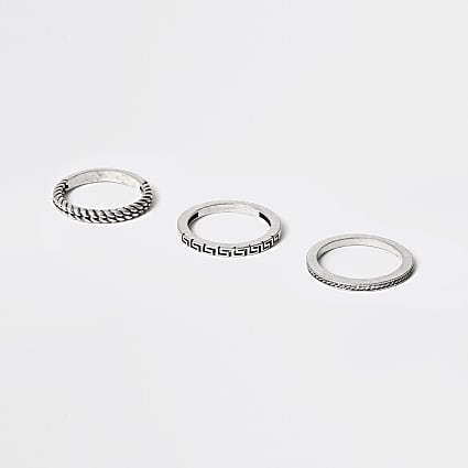 Silver colour twist ring 3 pack