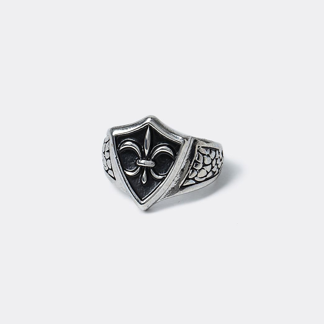 Silver colour vintage leur ring