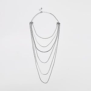 Silver coloured multi layer necklace