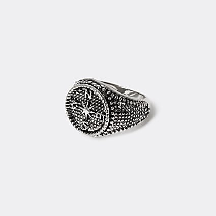 Silver compass signet ring