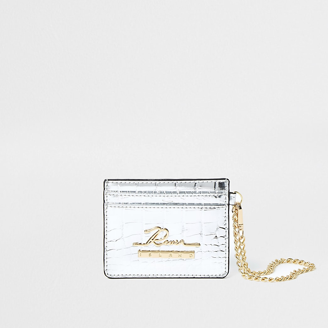 Silver croc cardholder