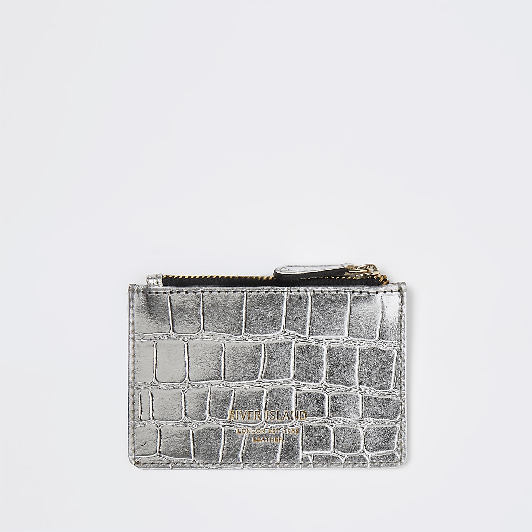 Silver croc leather card holder