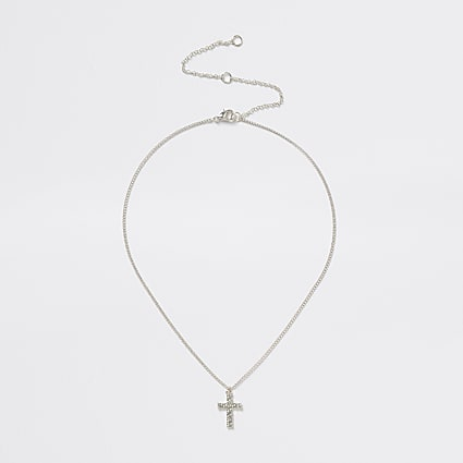 Silver cross diamante necklace