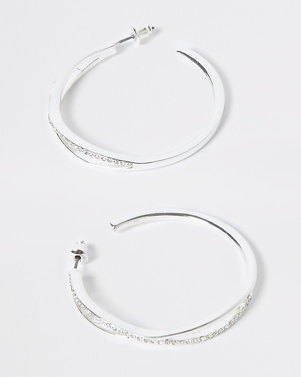 Silver crossover hoops