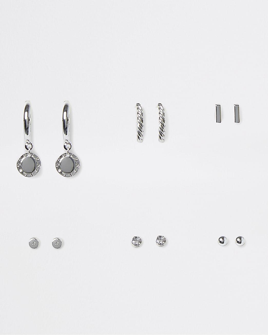 Silver crystal 6 pack earrings