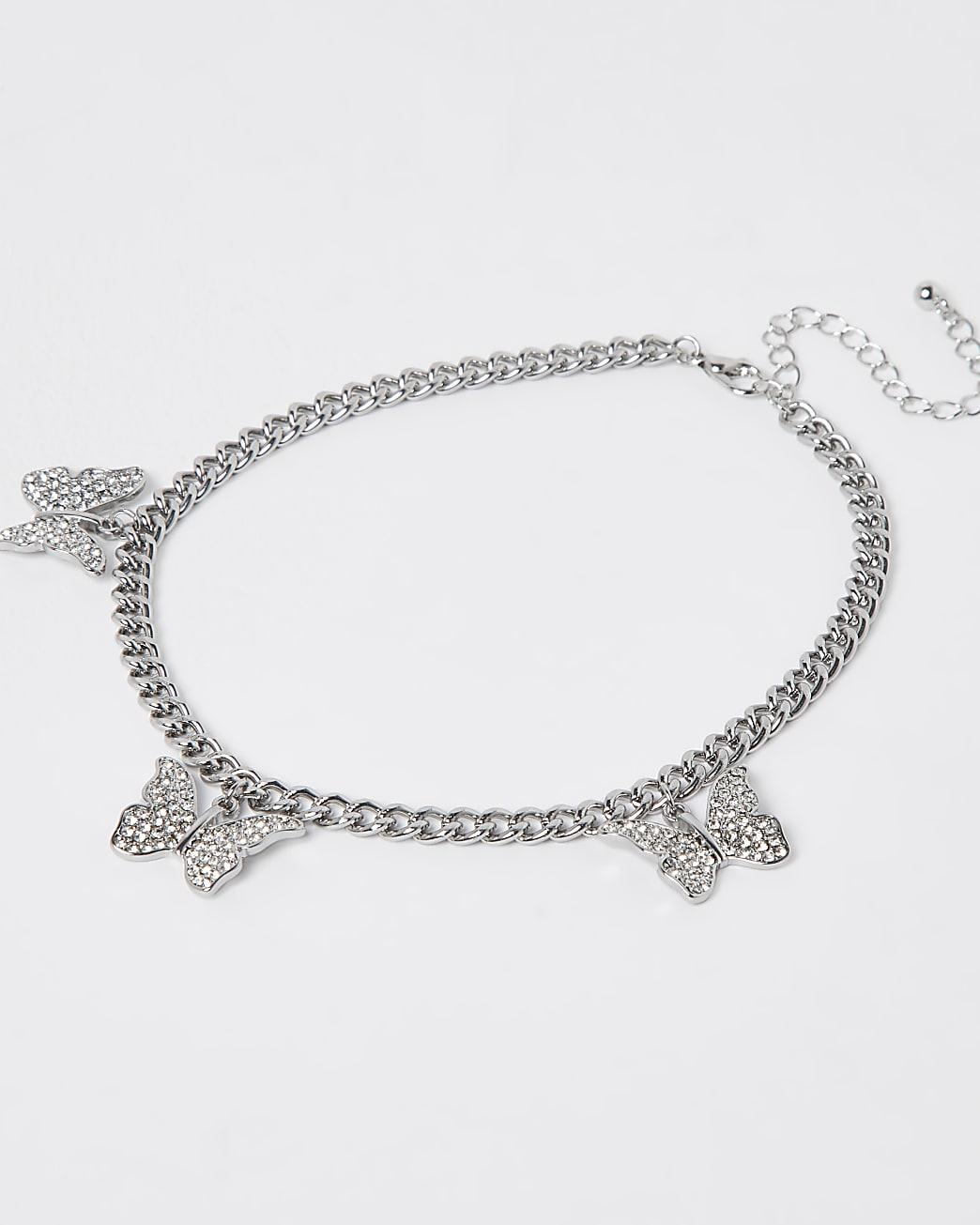 Silver crystal butterfly choker necklace