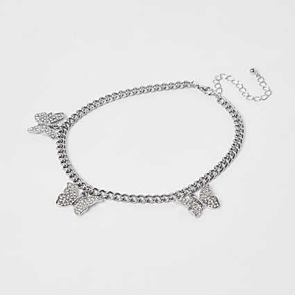 Silver crystal butterfly choker necklace