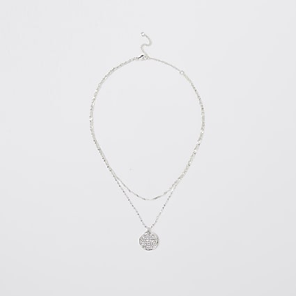 Silver crystal double row necklace
