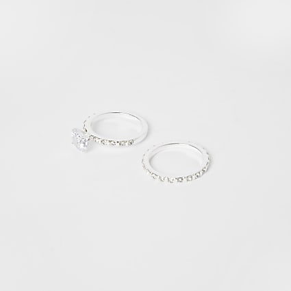Silver crystal engagement ring 2 pack