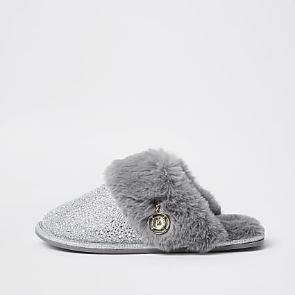 Silver Crystal Faux Fur Slipper