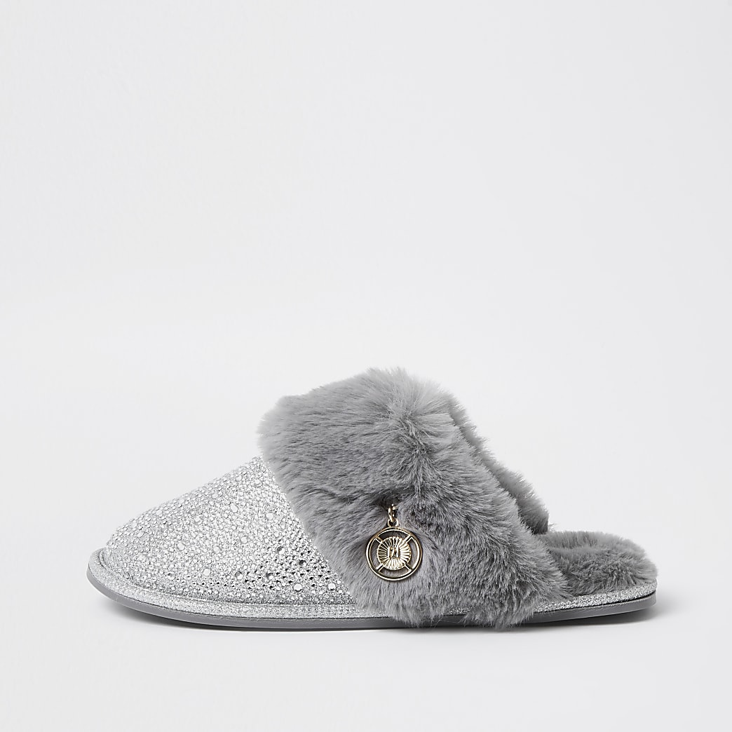Silver crystal faux fur slippers