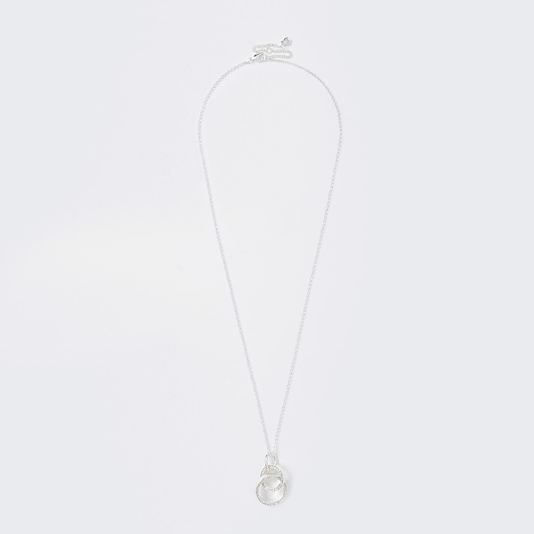 Silver Crystal Linked Long Pendant Necklace