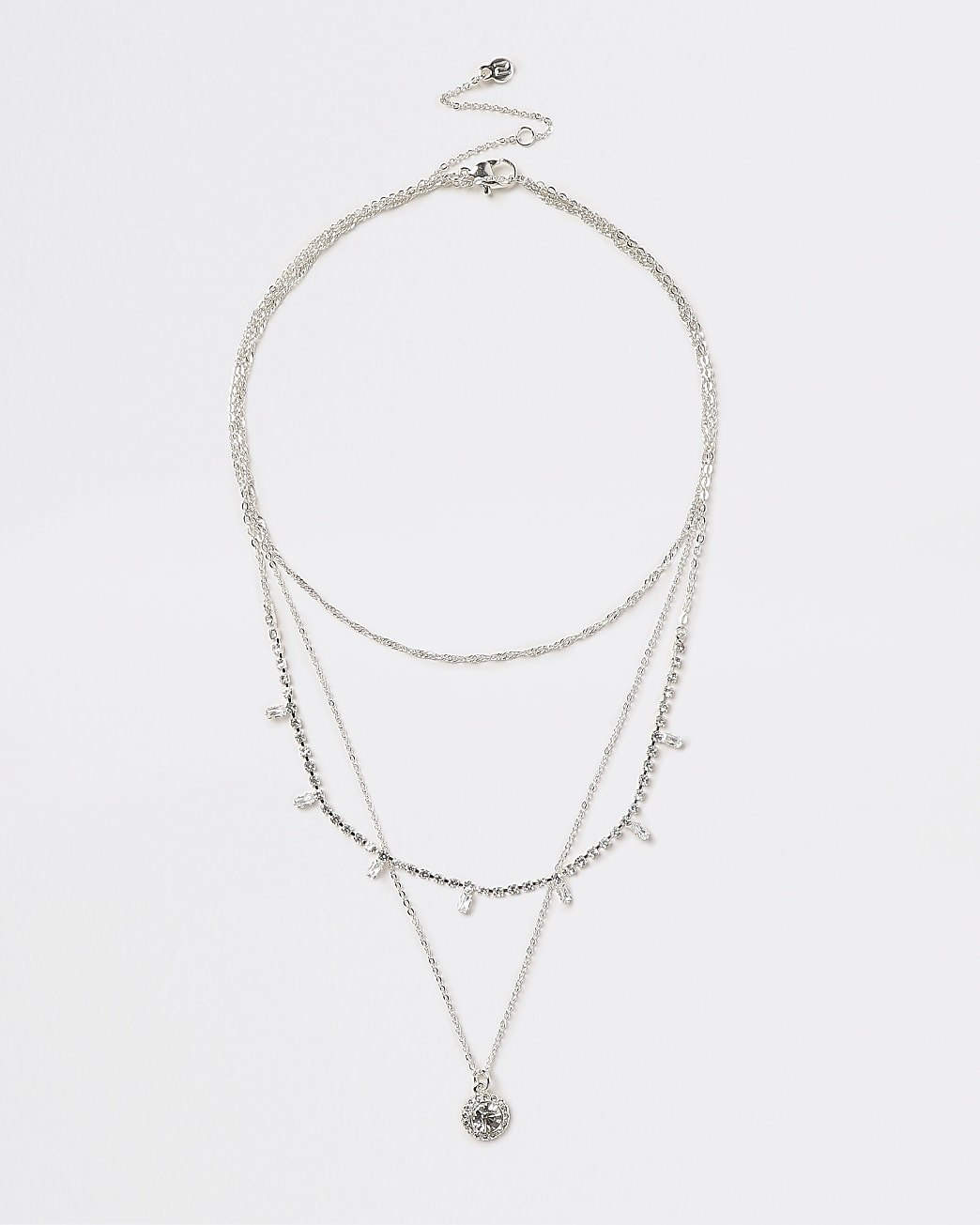 Silver crystal multirow necklace