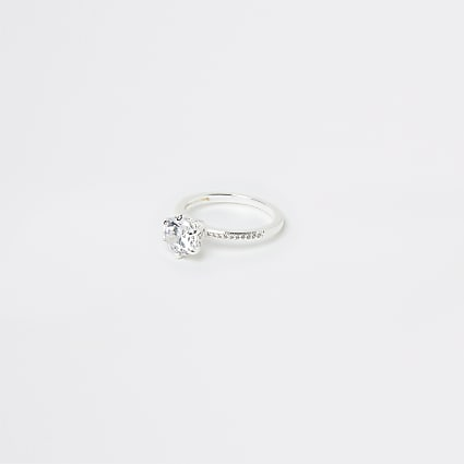 Silver crystal ring