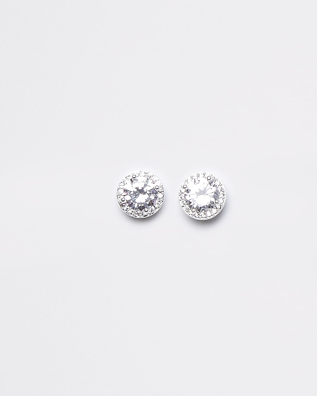 Silver crystal stud earrings