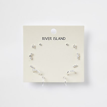 Silver delicate bling multi-pack earring