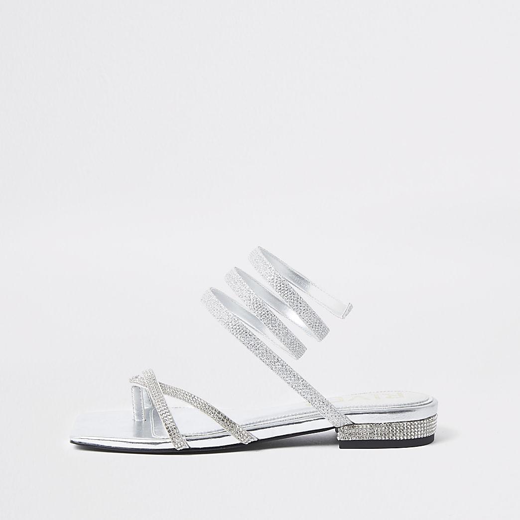Silver diamante ankle wrap flat sandal