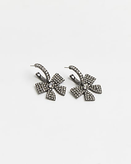 Silver diamante bow hoop earrings