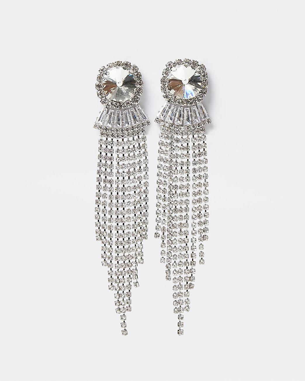 Silver diamante cascade drop earrings