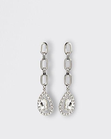 Silver diamante chain link drop earrings