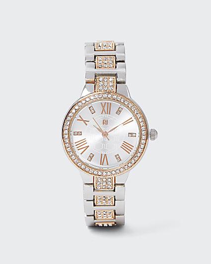 Silver diamante chain link watch