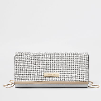 Silver diamante clutch bag
