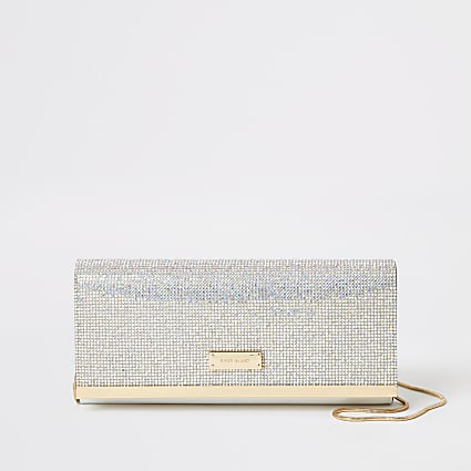 Silver diamante clutch handbag