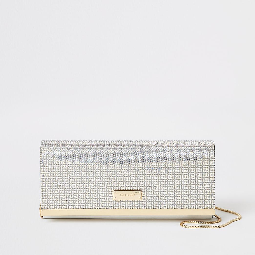 Silver diamante clutch handbag