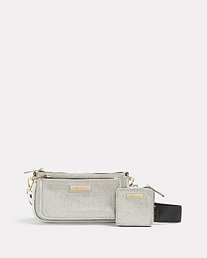 Silver diamante cross body bag with pouch