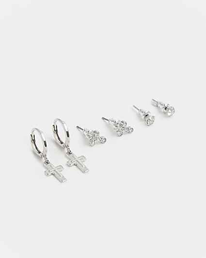 Silver diamante cross earrings 3 pack