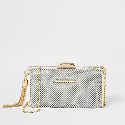 Silver diamante embellish box clutch handbag