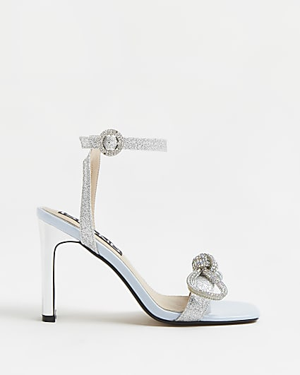 Silver diamante embellished bow heels
