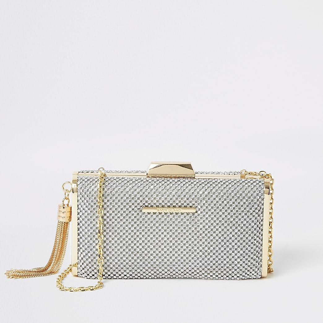 Silver diamante embellished box clutch bag