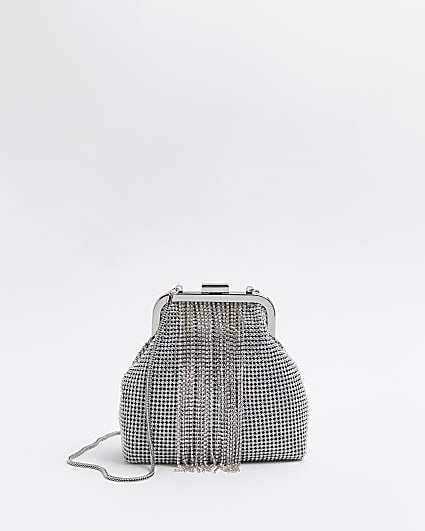Silver diamante embellished chain bag