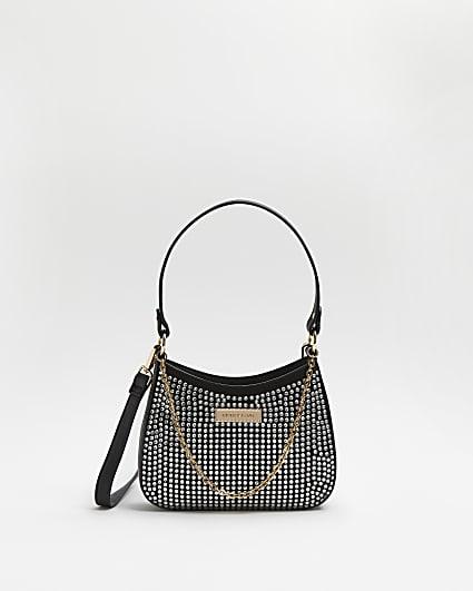 Silver diamante embellished handbag