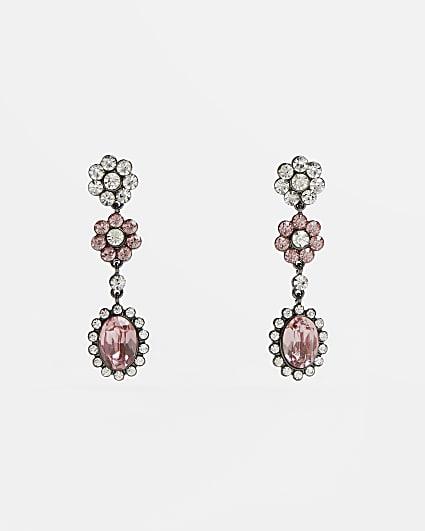 Silver diamante flower drop earrings